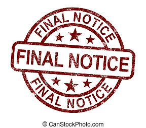 Final Notice Stamp Shows Outstanding Payment Due - Final ...