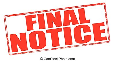 Final notice - Stamp with text final notice inside, vector ...