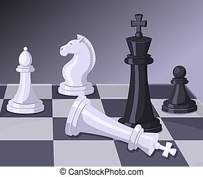 Final of chess game. Checkmate on chess board. Business...