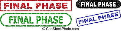 FINAL PHASE grunge stamps. Flat vector grunge watermarks with FINAL PHASE text inside different rectangle and rounded shapes, in blue, red, green, black color versions.