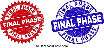 Round and rosette FINAL PHASE watermarks. Flat vector scratched seals with FINAL PHASE phrase inside round and sharp rosette shape, in red and blue colors. Watermarks with scratched style,