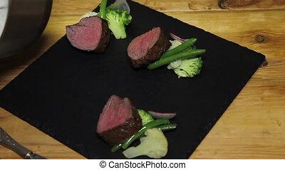 final preparing of beef steak