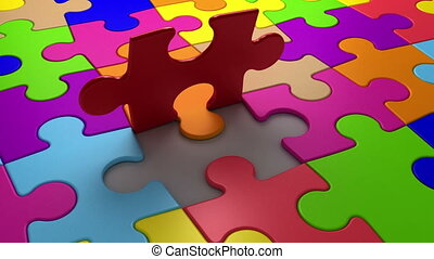 Final puzzle piece falls into place, 3d animation