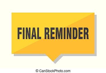 final reminder price tag - final reminder yellow square...
