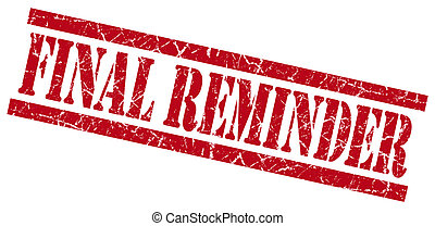 final reminder red grungy stamp isolated on white background
