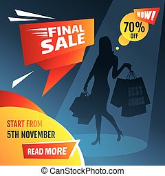 Final sale poster with girl silhouette