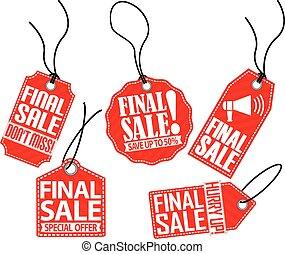 Final sale red tag set, vector illustration