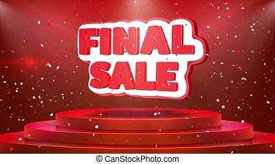 Final Sale Text Animation Stage Podium Confetti Loop...