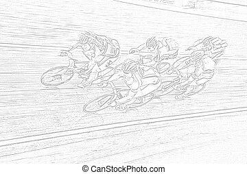 Final Spurt - A drawing of a professional bikerider peloton...