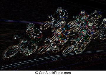 Final Spurt - An Illustration of a professional bikerider...