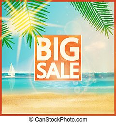 Final summer sale design template with beach.