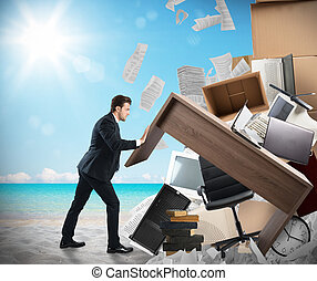 Finally holidays - Man moves office furniture from the beach