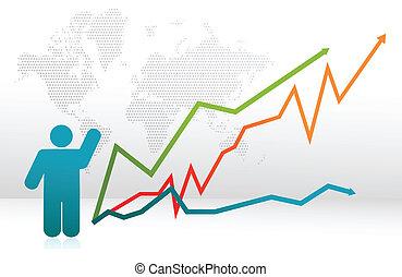 finanças, ícone, gráfico, com, setas