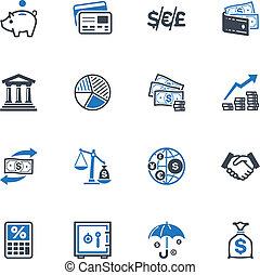 finanças, ícones, -, azul, série
