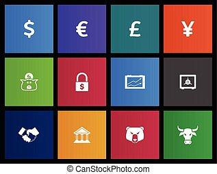 finanças, ícones