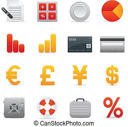 finanças, ícones, jogo, |, vermelho, série, 01