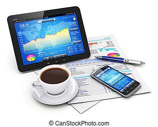 finanças, conceito, mobilidade, negócio