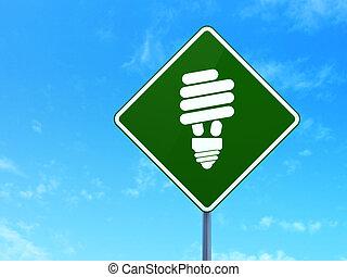 finanças, concept:, energia, poupar, lâmpada, ligado, sinal estrada, fundo