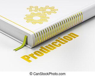 finanças, concept:, livro, engrenagens, producao, branco, fundo