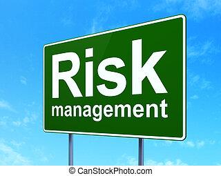 finanças, concept:, risco, gerência, ligado, sinal estrada, fundo