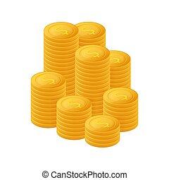 finanças, dólar, stack., moedas, illustration., montão, vetorial, pile., moeda ouro