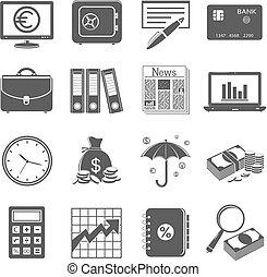 finanças, e, ícones negócio