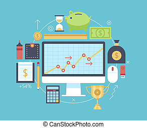 finanças, e, dinheiro, itens, collection.