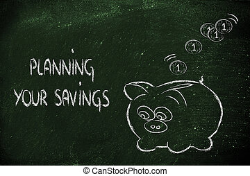 finanças, e, dinheiro saving, engraçado, cofre, com, moedas,...