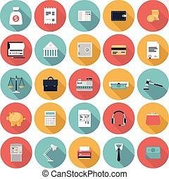 finanças, e, mercado, apartamento, ícones, jogo
