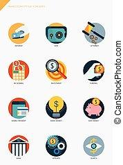 finanças, e, operação bancária, conceito negócio, apartamento, ícones, jogo