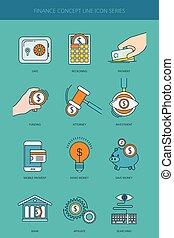 finanças, e, operação bancária, conceito negócio, linha, ícones, jogo