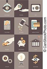 finanças, e, operação bancária, conceito negócio, modernos, apartamento, ícones, jogo