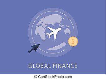 finanças globais, conceito, apartamento, ícone