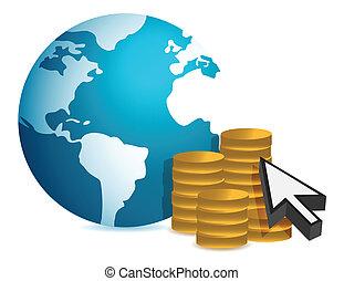 finanças globais, conceito, ilustração