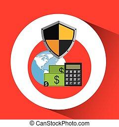 finanças globais, operação bancária, cofre, escudo, proteção