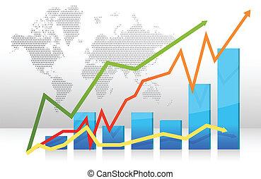 finanças, gráfico de barras, com, setas
