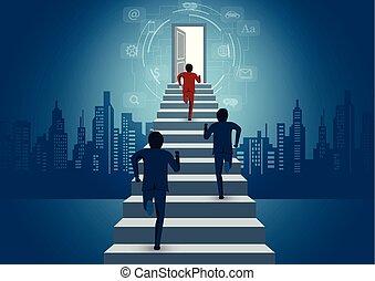 finanças, idea., negócio, homens negócios, door., startup., competição, concept., cima, executando, degrau, vetorial, criativo, caricatura, sucesso, ilustração, icon., liderança