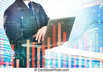 finanças, inovação, e, analytics, conceito