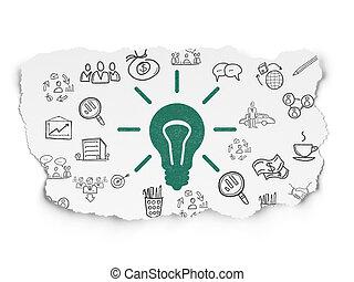 finanças, luz, papel rasgado, fundo, bulbo, concept: