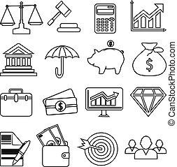 finanças negócio, ícones, jogo