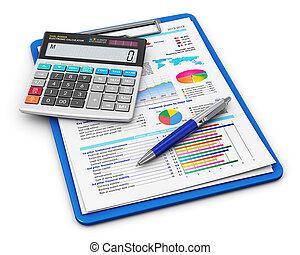 finanças negócio, e, contabilidade, conceito