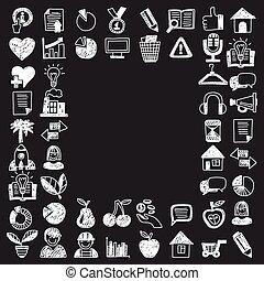 finanças negócio, marketing, internet fazendo compras, doodle, ícones