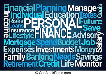finanças pessoais, nuvem, palavra