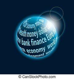 finanças, planeta, ícone