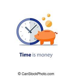 finanças, retorno, banco, sacolas, relógio, dinheiro,...