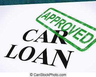 finanças, selo, empréstimo carro, aprovado, automático, concordado, mostra