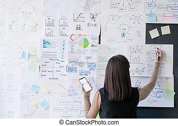 finanční machinace, autokar, zadní strana prohlédnout, zpráva, samičí, analyzovat, národohospodář, nebo, doklady