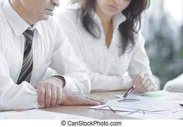 finanční machinace, business vysvědčení, discussing, dva, kolega