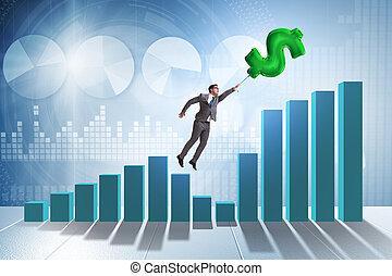 financ, encima, vuelo, muestra del dólar, hombre de negocios...