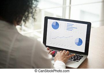 financ, proyecto, director, computadora, analizar, africano...